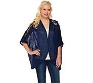 Tashon Lace Shoulder Kimono Open Front Cardigan - A273987