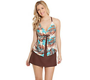 Ocean Dream Signature Travelers Palm Fly-Away Tankini & Skirt - A274587
