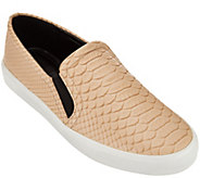 As Is H by Halston Snake Embossed Leather Slip-On Sneaker - Susan - A284687