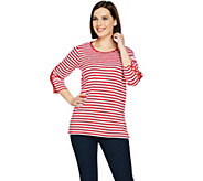 Quacker Factory Striped Rhinestone Lattice Sleeve Knit T-shirt - A289687