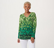Studio by Denim & Co. Feather Print Long Sleeve V-Neck Top - A294087