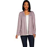 LOGO by Lori Goldstein Raised Stripe Sweater Knit Cardigan - A294687
