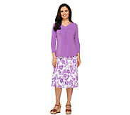 Susan Graver Liquid Knit Ruched V-neck Shirt with Gored Skirt - A87187