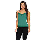 Susan Graver Essentials Liquid Knit Lace Trimmed Camisole - A93187