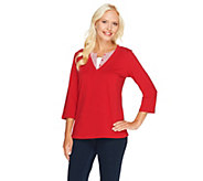 Denim & Co. Perfect Jersey 3/4 Sleeve Woven Duet - A215888