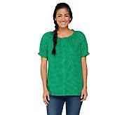 Denim & Co. Short Sleeve Button Front Dot Print Peasant Top - A232688