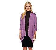 George Simonton Crystal Knit Drape Front Cardigan with Ruching - A234488