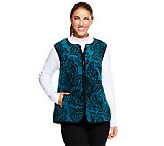 Bob Mackies Printed Vest & Long Sleeve Mock Neck Top Set - A236488