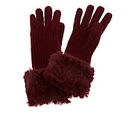 Dennis Basso Rib Knit Gloves w/ Roll Back Faux Fur Trim - A236888