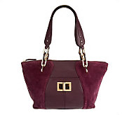 B.Makowsky Layla Suede and Leather Satchel w/ Tortoise Strap - A237188