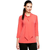 Joan Rivers Luxe Knit Tie Neck Top with 3/4 Sleeves - A239588