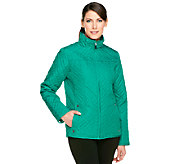 Susan Graver Packable Quilted Zip Front Jacket with Pockets - A240888