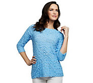 As Is Susan Graver Ruffled Mesh 3/4 Sleeve Top with Sparkles - A251288