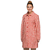 Denim & Co. Water Resistant Button Front Plaid Rain Coat - A251688