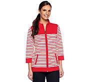 Denim & Co. Active French Terry Zip Front Striped Jacket - A252688