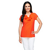 Isaac Mizrahi Live! Knit Lace Top with Ruffle Neckline - A254788