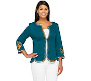 Bob Mackies 3/4 Sleeve Golden Baroque Embroidered Knit Jacket - A258788