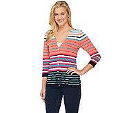 Liz Claiborne New York V-Neck Striped Cardigan - A260688