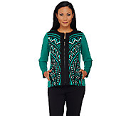 Bob Mackies Printed Zip Front Scuba Knit Jacket - A268388