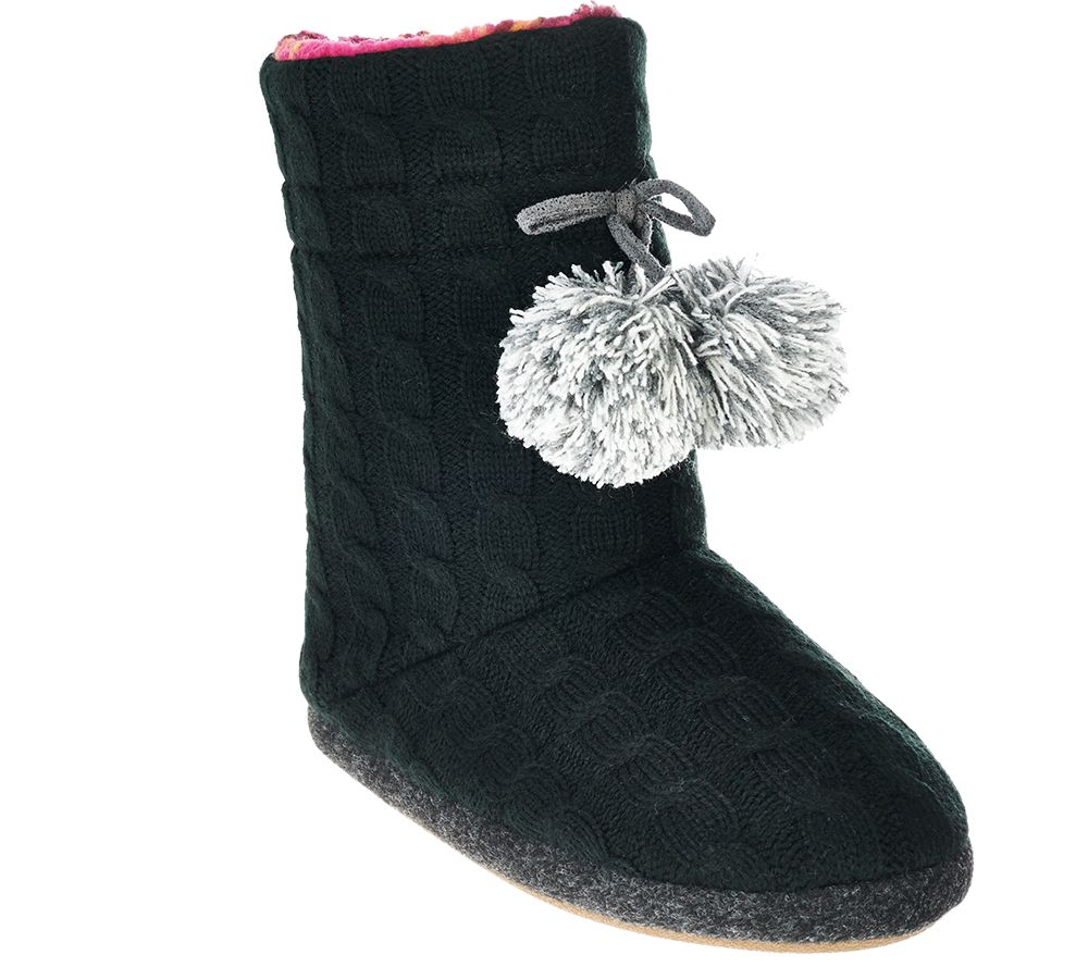 Cuddl Duds Cable Knit Fleece Lined Boot Slippers