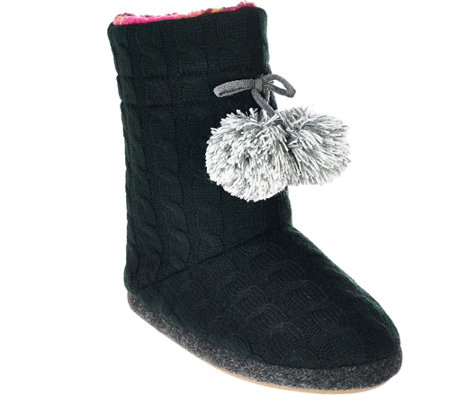 Cuddl Duds Cable Knit Fleece Lined Boot Slippers W/ Foam Insole - A268588 U2014 QVC.com