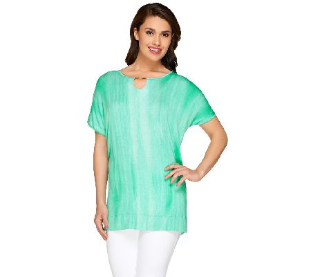 Lisa Rinna Collection Printed Knit Top with Neckline Detail