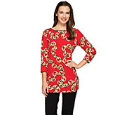 Susan Graver Weekend Printed Cotton Modal Bateau Neck Top - A273488
