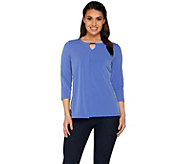 Susan Graver Liquid Knit 3/4 Sleeve Top with Keyhole Trim - A277788
