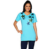 As Is Quacker Factory Star Spangled V-Neck Elbow Sleeve Tunic - A278188