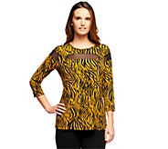 As Is George Simonton Zebra Print Milky Knit Top with Sheer Illusion - A279188