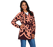 Isaac Mizrahi Live! Adobe Scroll Jacquard Sweater Coat - A280188