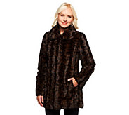 As Is Dennis Basso Wavy Leopard Print Faux Fur Jacket - A280788