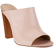 As Is H by Halston Open- Toe Leather Mules with Stacked Heel - A283588