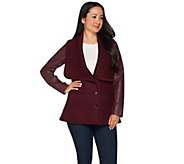 H by Halston Sweater Knit Collar Jacket with Leather Sleeves - A283888