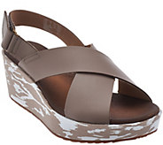 As Is Clarks Leather Cross Band Wedge Sandals - Stasha Hale - A284288