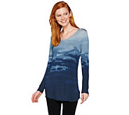 Lisa Rinna Collection Long Sleeve Printed Knit Top - A287388