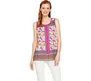 Susan Graver Liquid Knit Tank with Printed Woven Overlay - A287688