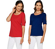 Quacker Factory Set of Two Rhinestone Cold Shoulder Knit T-shirts - A289688