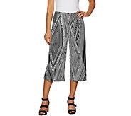 Susan Graver Printed Liquid Knit Wide Leg Crop Pants - A290788