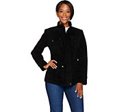 As Is Isaac Mizrahi Live! Suede Zip Front Utility Jacket - A291188