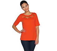 Quacker Factory Fall Fun Cut-Out Detail Elbow Sleeve T-shirt - A292688