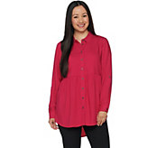 Joan Rivers Button Front Blouse with Gathered Detail - A293988