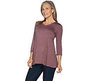 LOGO Layers by Lori Goldstein 3/4 Sleeve Top with Angled Side Seams - A294688