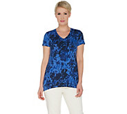 H by Halston Rose Print V-Neck Short Sleeve Top - A303188