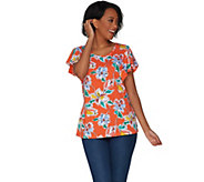 Denim & Co. Floral Print Scoop Neck Top with Flutter Sleeve - A305188