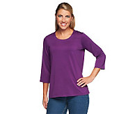Susan Graver Essentials Butterknit 3/4 Sleeve Scoop Neck Top - A203889