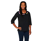 Quacker Factory 3/4 Sleeve Pretty Pansies T-shirt - A213789