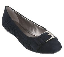 Tignanello Suede Flats with Buckle & Ruching Detail