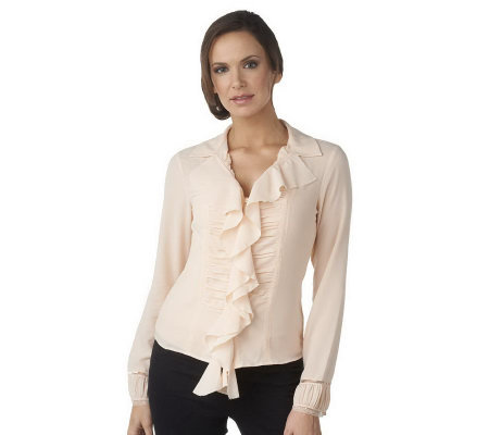 G.I.L.I. Collared Long Sleeve Ruffle Front Blouse 93
