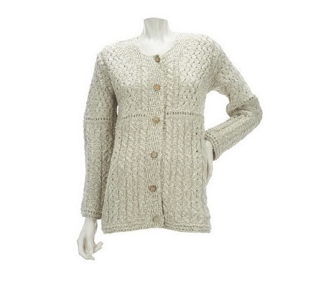 Irish Sweater Cotton - Cardigan With Buttons
